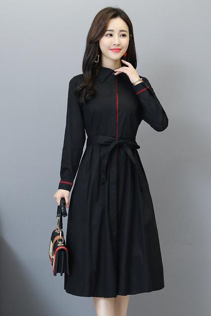 2019 primavera nueva Ropa De Mujer De manga larga temperamento solapa botón mujeres vestido De fiesta De encaje Vestidos De Mujer Plus tamaño