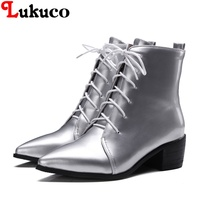 2018 Pure Color Lady Ankle Boots Plus Size 37 38 39 40 41 42 43 44