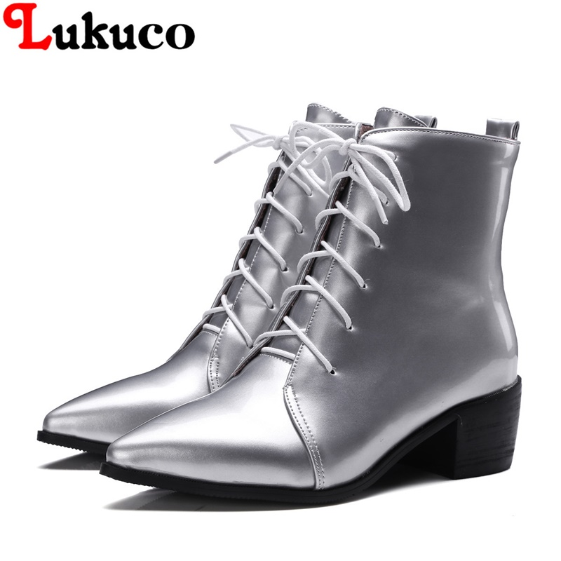 2018 pure color lady ankle boots plus size 37 38 39 40 41 42 43 44 45 46 47 48 women lace-up shoes fashion design free shipping