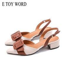 Купить с кэшбэком E TOY WORD Pointed Toe Sandals women Thick Heel Summer 2019 New Buckle Strap Fashion back air Mid Heel shoes Women's sandals