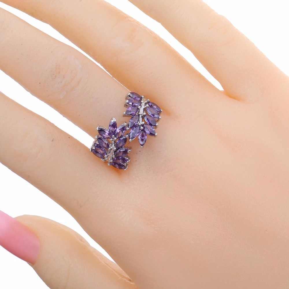 Luxury tím Pha Lê Thời Trang bạc tím zircon Jewelry kích 10 Cưới Vòng Quyến Rũ Trang Sức Phụ Nữ