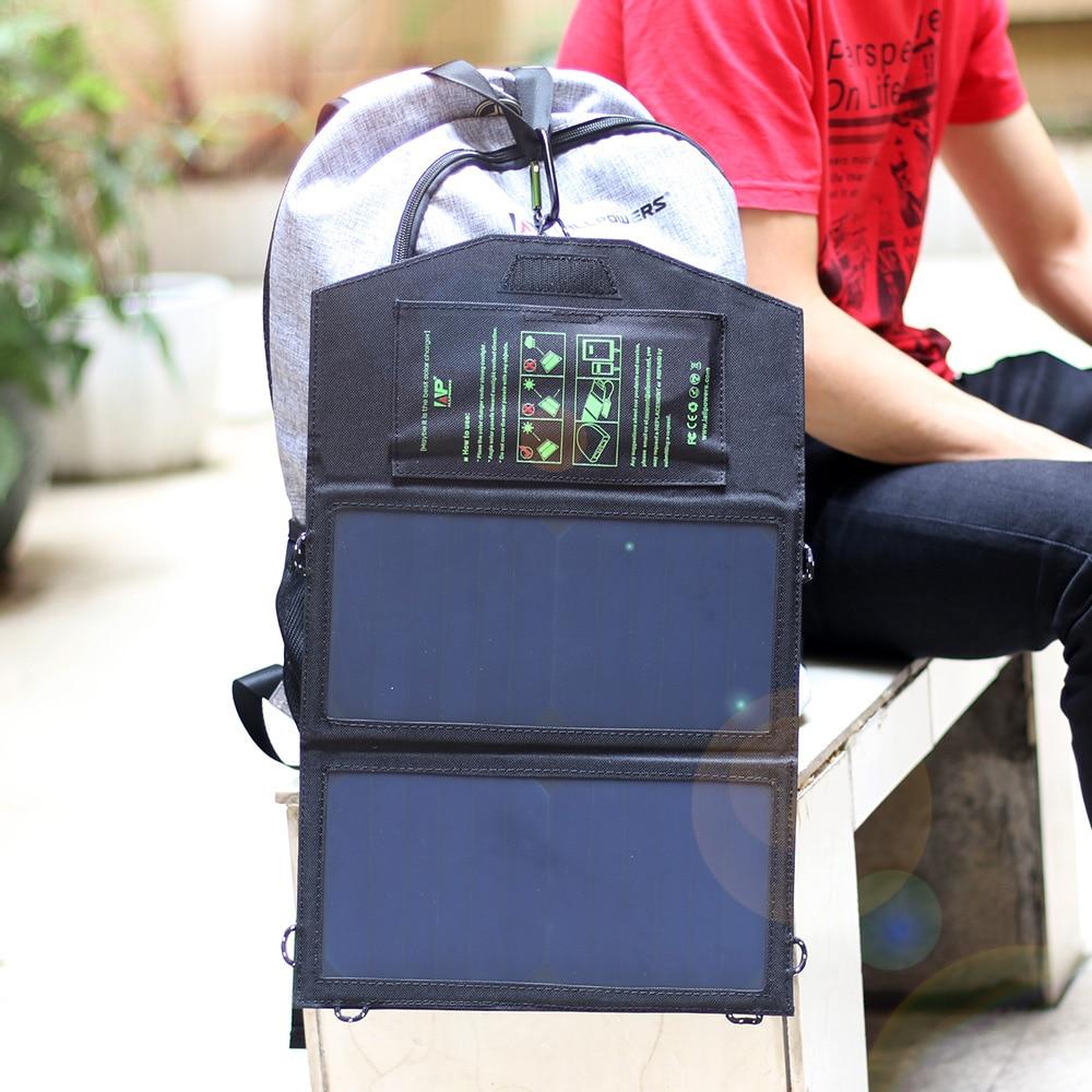 imágenes para ALLPOWERS 14 W 5 V Cargador Solar para iPhone iPad Samsung Móviles y Bancos de la Energía, doble Salida USB Cargador Solar de Carga Rápida.