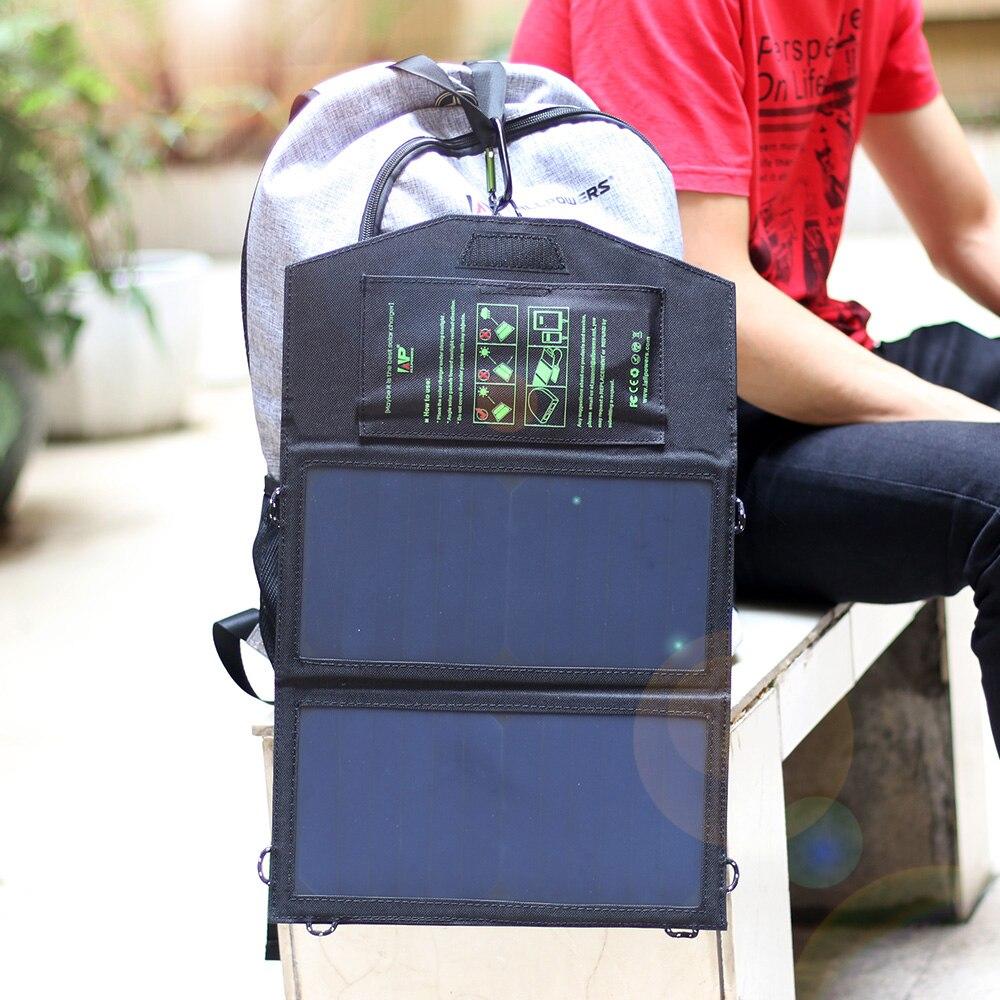 bilder für ALLPOWERS 14 Watt 5 V Solar-ladegerät für iPhone iPad Samsung Handys und Power Banken, Dual Usb-ausgang Schnellladung Solar-ladegerät.