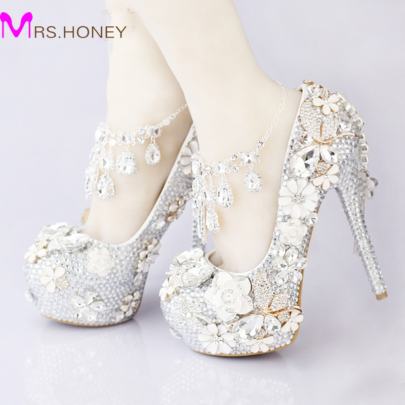 2016 Luxurious Silver Rhinestone Wedding Bridal Shoes