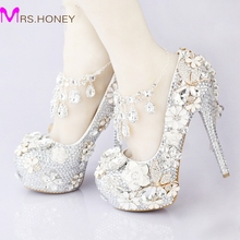 2016 Luxurious Silver Rhinestone Wedding Bridal Shoes Crystal Ankle Straps Anniversary Party High Heel Shoes Handmade 5 Inches