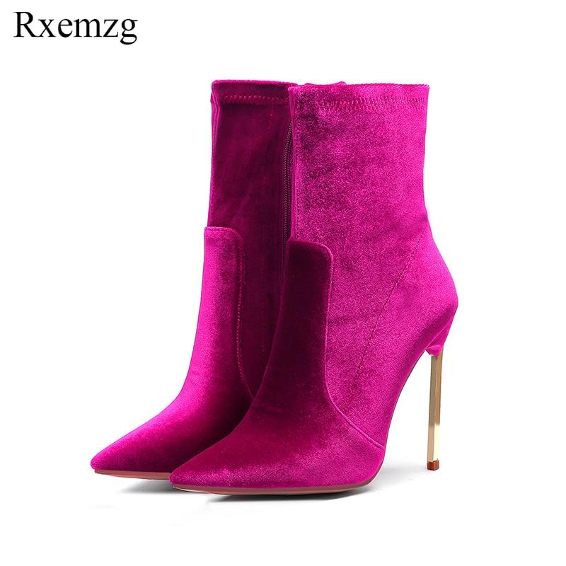 Rxemzg elegant velvet boots women ankle boots high heels short boots zipper 2019 gold metal heel