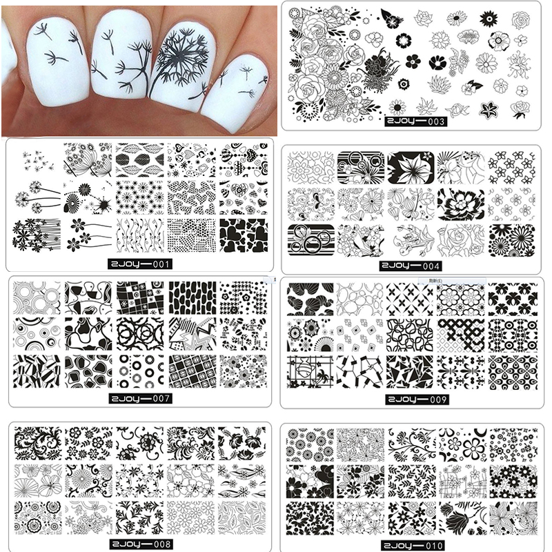 10 Stks / partij Bloemen Patroon Nail Stempelen Platen Stamping Nail - Nagel kunst