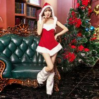 Fashion Santa Christmas Women Short Dress with Hat Xmas Fancy Party Cosplay Costumes Lady Sexy Unique Dress with Leg Cover