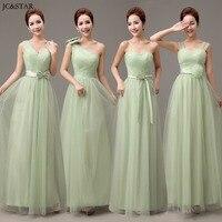 Tulle And Organza V Neck Straps Long Mint Green Bridesmaid Dresses Wedding Party Dress Cheap Bridesmaid