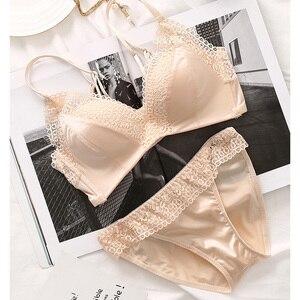 Image 3 - Retro stijl kant schoonheid bralette en slipje 3 kleuren push up verzamelen ademen mode ondergoed lingerie sets jonge meisjes sexy