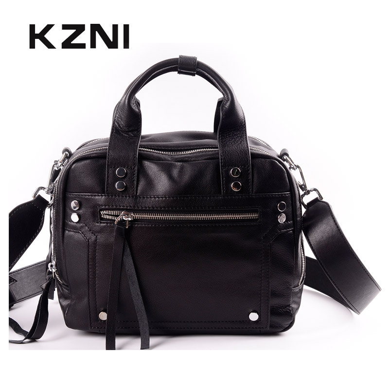 KZNI High Quality Real Leather Shoulder Bag Crossbody Bags for Women Fashion Handbags 2018 Sac a Main Femme Bolsos Mujer 1445 kzni genuine leather cowhide clutch cross shoulder bags high quality rivet crossbody bag sac a main femme bolsos mujer 9062 9063