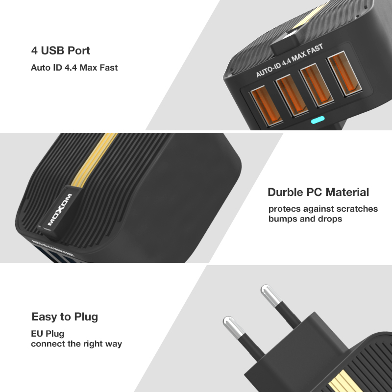 MOXOM Quick Charge 3 0 Fast USB Charger 28w Mobile Phone Charger for iPhone Samsung Xiaomi Tablet 4 Port Desktop EU UK Plug in Mobile Phone Chargers from Cellphones Telecommunications