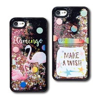 Glitter Rainbow Bling Stars Dynamic Liquid Quicksand Wishing Bottle Flamingo Phone Back Cover Case For IPhone