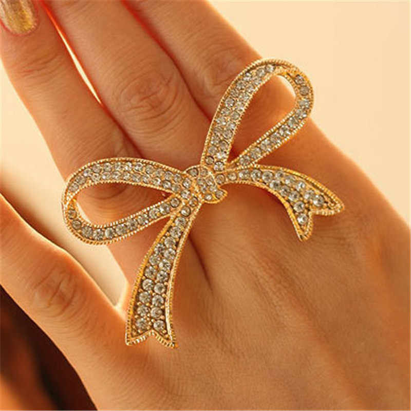 European and American Retro Exaggerated Rhinestone Bow Ring Luxurious Crystal Big Bow knot Rings Woman Girls Jewelry Wholesale