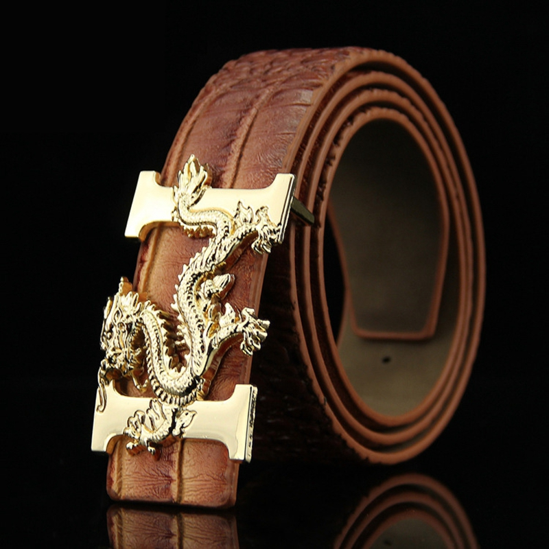 KAWEIDA 2018 Designer Belts Men High Quality Smooth Buckle Leather Waist Belt PU Luxury Leather Chinese Dragon Ceinture Homme