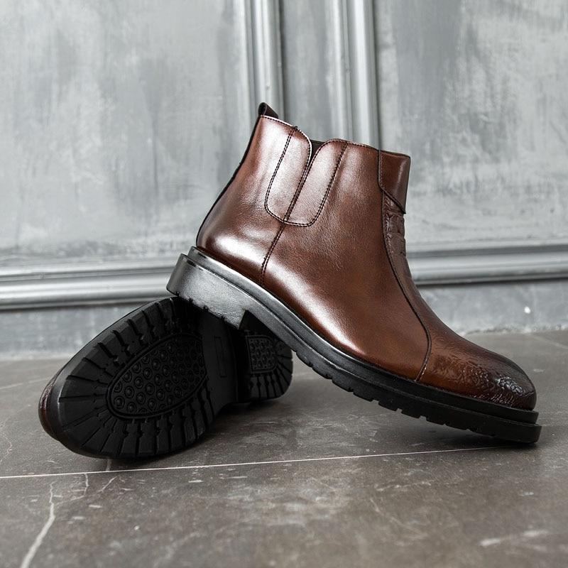 De Tobillo 44 Patrón en Botas Slip Cortas Cremallera Tamaño El Arranque 38 Hombres Cocodrilo Martin brown Black Cuero Los Casuales Zapatos Puntiagudos FfwrZqF