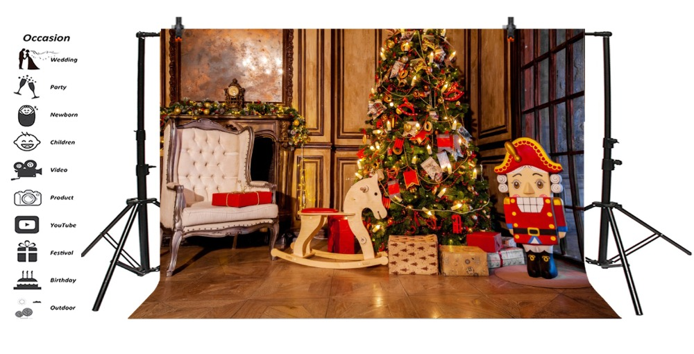 Laeacco Christmas Tree Armchair Gifts Fireplace Baby Photography Background Customized Photographic Backdrop For Photo Studio in Background from Consumer Electronics