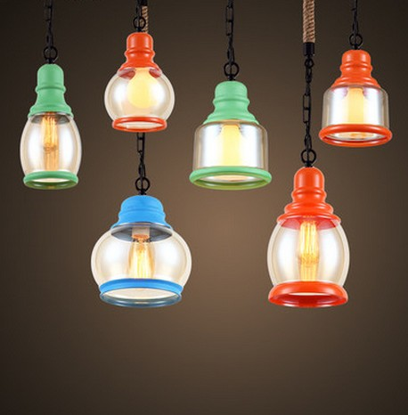 Loft Style Glass Edison Pendant Light Fixtures Vintage Industrial Lighting For Dining Room Rope Hanging Lamp Lustres De Sala nordic bamboo rope loft style vintage industrial lighting wood pendant light fixtures edison homeing lighting lamparas