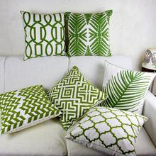 Зеленая вышитая наволочка марокканская Подушка Чехол с геометрическими