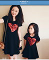 2016 free shipping  love short-sleeved dress for monthere and daughter, family fitted dress