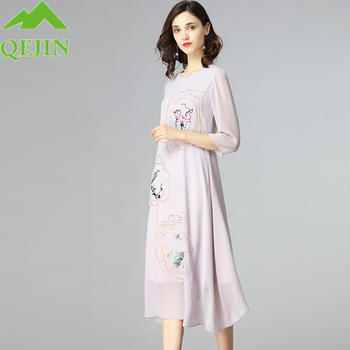2018 summer silk dresses women elegant silk oraganza embroidery floral casual dresses long beach elegant O- neck half sleeve