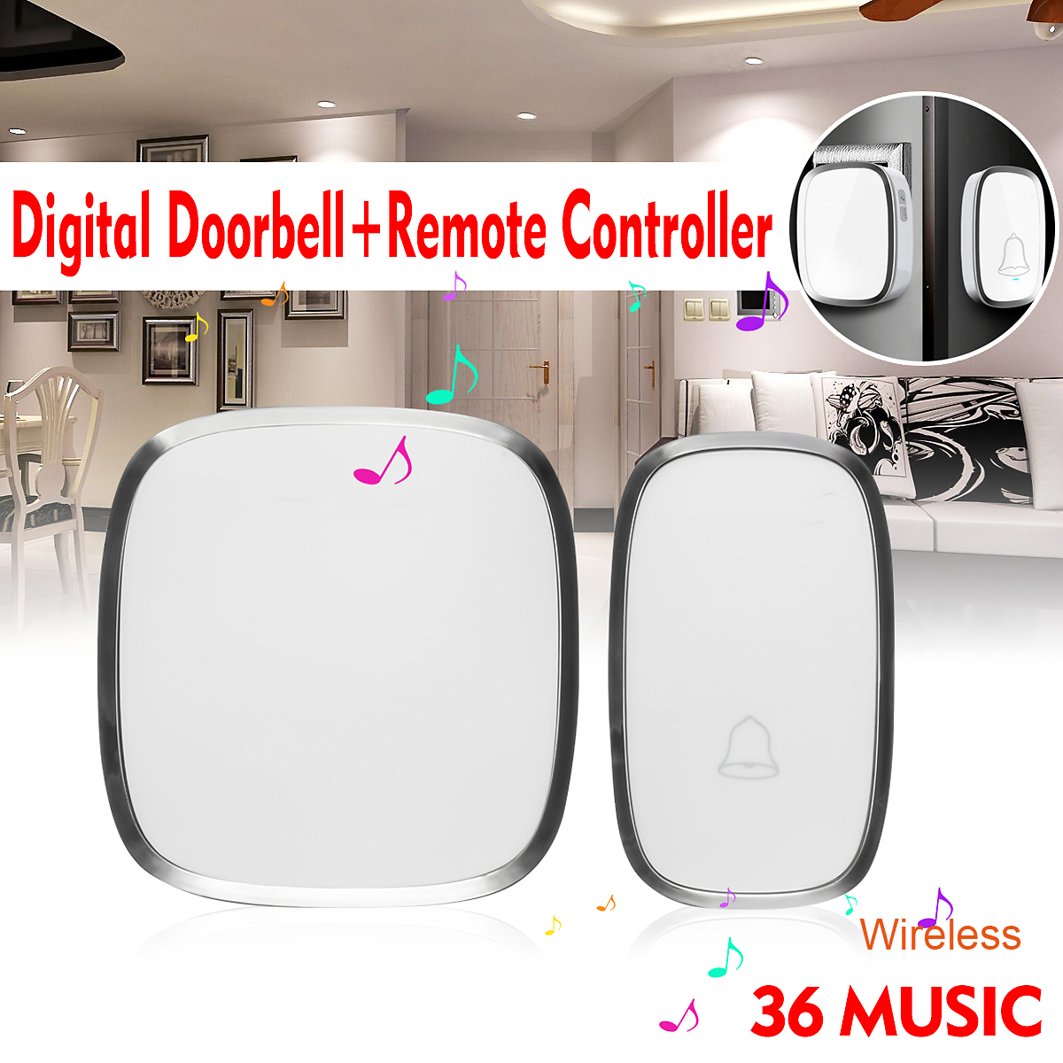 36 Chimes Waterproof Wireless Door Bell US Plug AC 110-240 No Battery Digital Doorbell Music Wifi Door Chime + Remote Control sensky us plug 52 music wireless remote control door chimes 300m distance 1 door bell 1 remote control 0c1