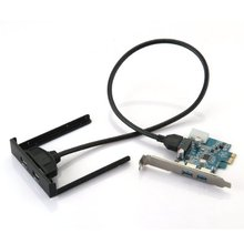 GTFS Hot PCI Express PCI-E Card 2 Port Hub Adapter + USB 3.0 Front Panel 5Gbps Hi-Speed