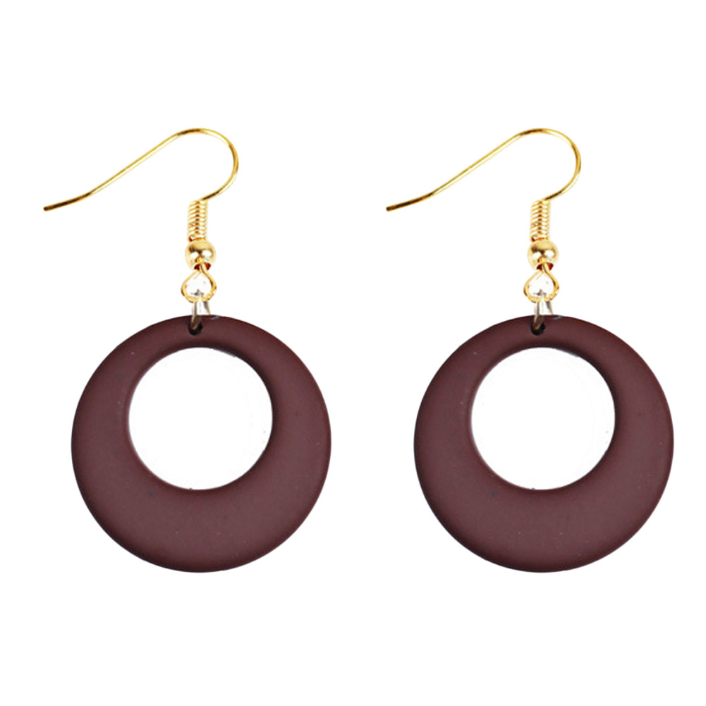 Dangle Hook Earrings Of Hollow Design Drop Color DIY Jewelry Brown