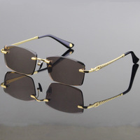 Vazrobe Glass Sunglasses Men Trimming Crystal Lens Driving Sun Glasses Cool Rimless Anti Reflection High grade Brown Clear Lens