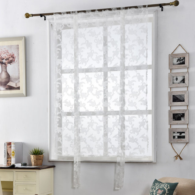 Charmant Kitchen Curtains Jacquard Tulle Roman Blinds Floral White Sheer Fabrics  Window Treatment Short Door Curtains Home Textile