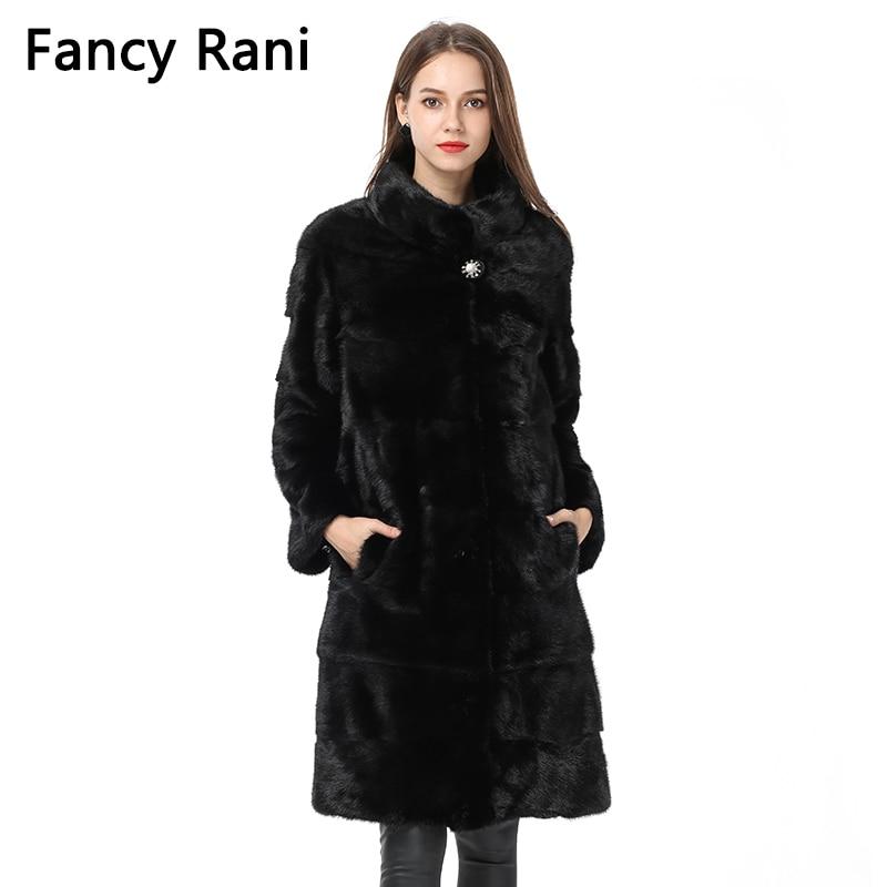 367dcf84ad 2018 Fashion Fur Coat Natural Mink Stand Collar Good Quality Warm Mink Fur  Coat Women Black