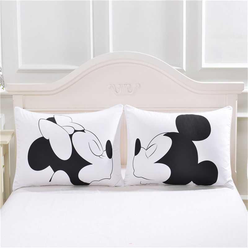 1 coppia Carina Mickey Mouse Coperture per Cuscini Colore Bianco Coppie Amanti Del Fumetto Copertura del Cuscino Per La Casa Camera Da Letto Federe