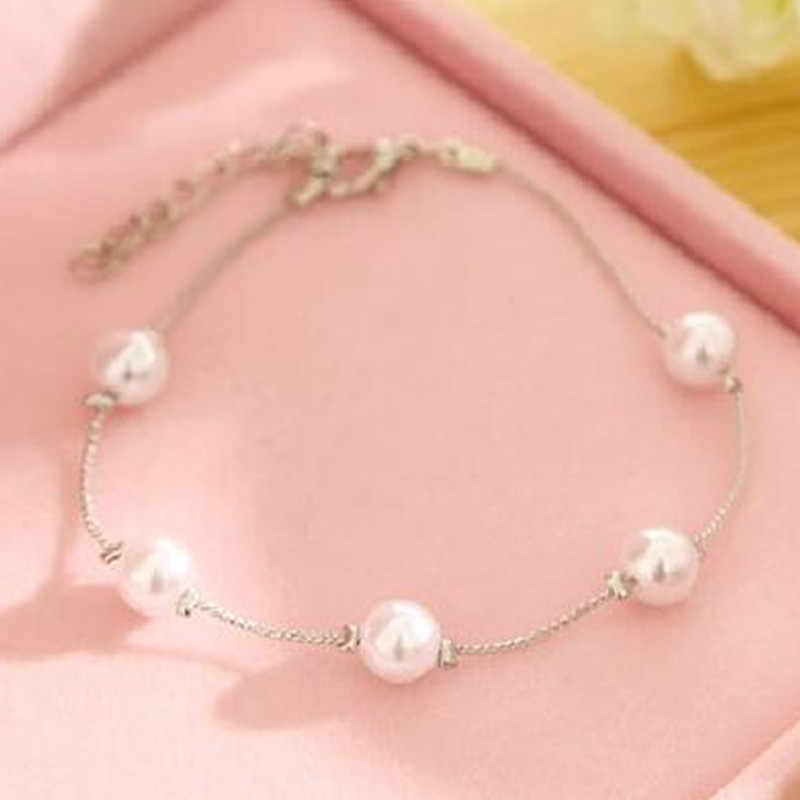 Hot Sales New Silver Color Imitation Pearl Charm Bracelet & Bangle Fashion Summer Jewelry Bijoux Wholesale For Women