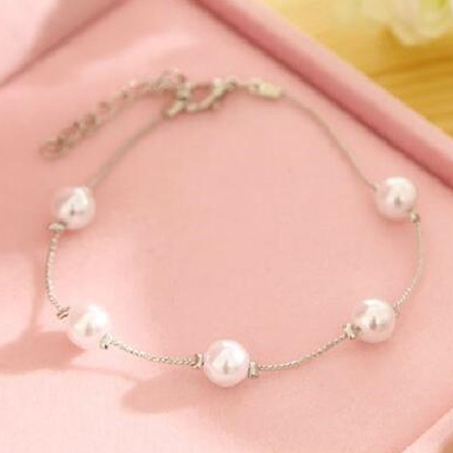 Hot Sales New Silver Color Imitation Pearl Charm Bracelet & Bangle Fashion Summe