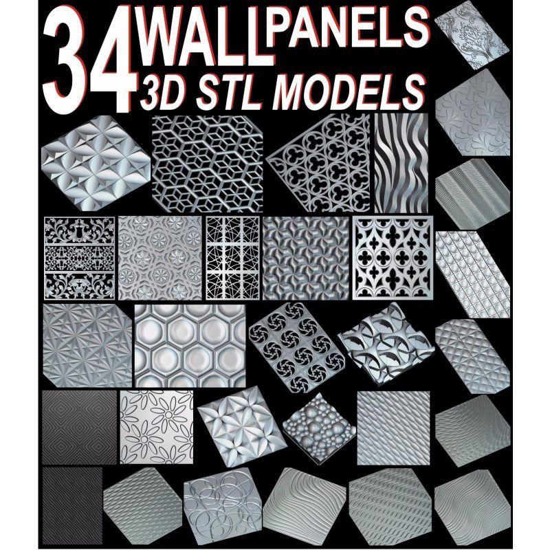 34pcs/set Wall Decor Panels 3D STL Model For Cnc ARTCAM ASPIRE MACH3