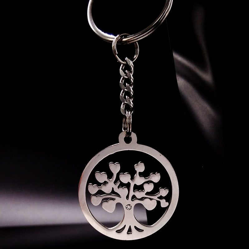 Tree of Life Stainless Steel Pendant Keychain Silver Color Keyrings For Woman Men Key Chain Jewelry Wholesale chaveiros K6885