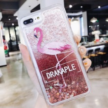 ONEVAN Quicksand Case For iPhone X 7 8 Flamingo Phone Cases 6 6s Plus XR XS Max Bling Dynamic Love Hearts Back Cover