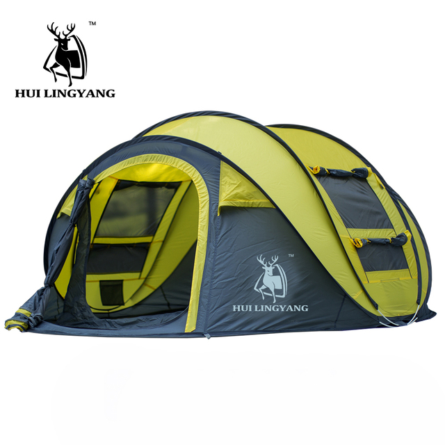HUILINGYANG 3-4persons single layer large space automatic open throwing pop up windproof waterproof beach camping tent