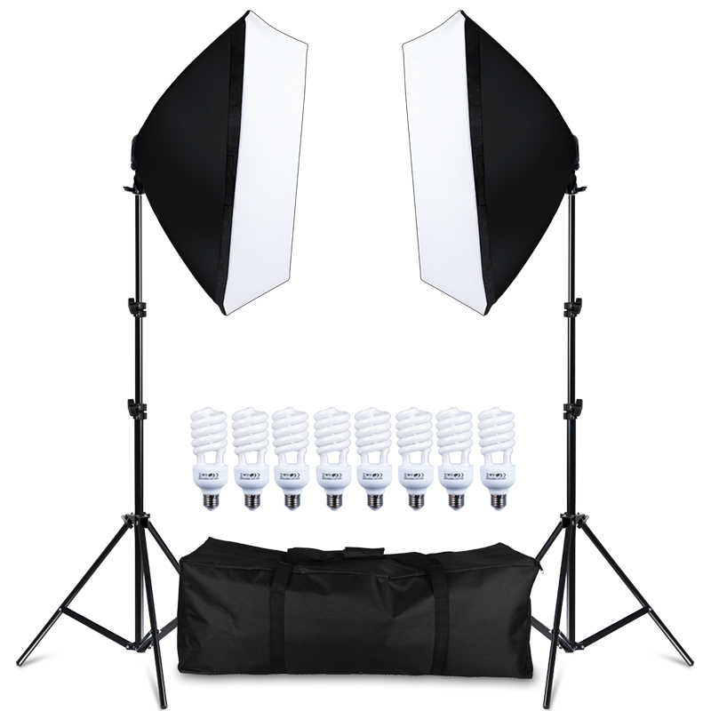 Kit fotografia Softbox Lightbox 8 PCS E27 LED Câmera Photo Studio Equipamento de Iluminação 2 2 Estande Luz Softbox com Carry saco