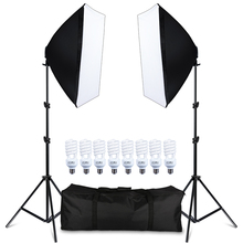 Photography Softbox Lightbox Kit 8 PCS E27 LED Photo Studio Camera Lighting Equipment 2 Softbox 2 Light Stand with Carry Bag capsaver 2 in 1 kit led video light studio photo led panel photographic lighting with tripod bag battery 600 led 5500k cri 95