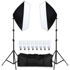 Photography Softbox Lighting-Equipment Camera 2-Light-Stand with 8pcs LED Carry-Bag E27