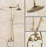 Bathroom Shower Set Faucet 8 inch Brass Rain Bath Shower Dual Handle Wall Mounted Mixer Taps lan503