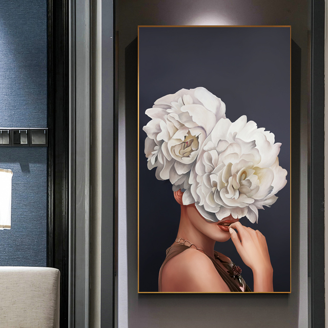 Abstract Beauty Flower Lady Canvas Painting Wall Art Pictures