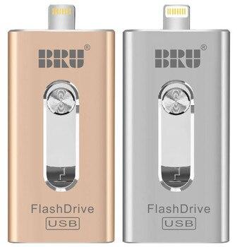 BRU 3in1 Otg Usb Flash Drive 8gb 16gb 32gb 64gb 128gb 256gb For Iphone Ipad Tablet phone lightning android Pen Drive Usb Stick