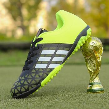 2018 mężczyźni chłopiec dzieci Soccer Cleats do piłki nożnej na murawie buty piłkarskie TF twarde tenisówki na kort trenerzy nowy projekt korki rozmiar 31-43 tanie i dobre opinie LUONTNOR Murawa (tf) Średnie (b m) men soccer shoes 167-1 Skóra RUBBER Lace-up Bezpłatne elastyczne Cotton Fabric Pasuje prawda na wymiar weź swój normalny rozmiar