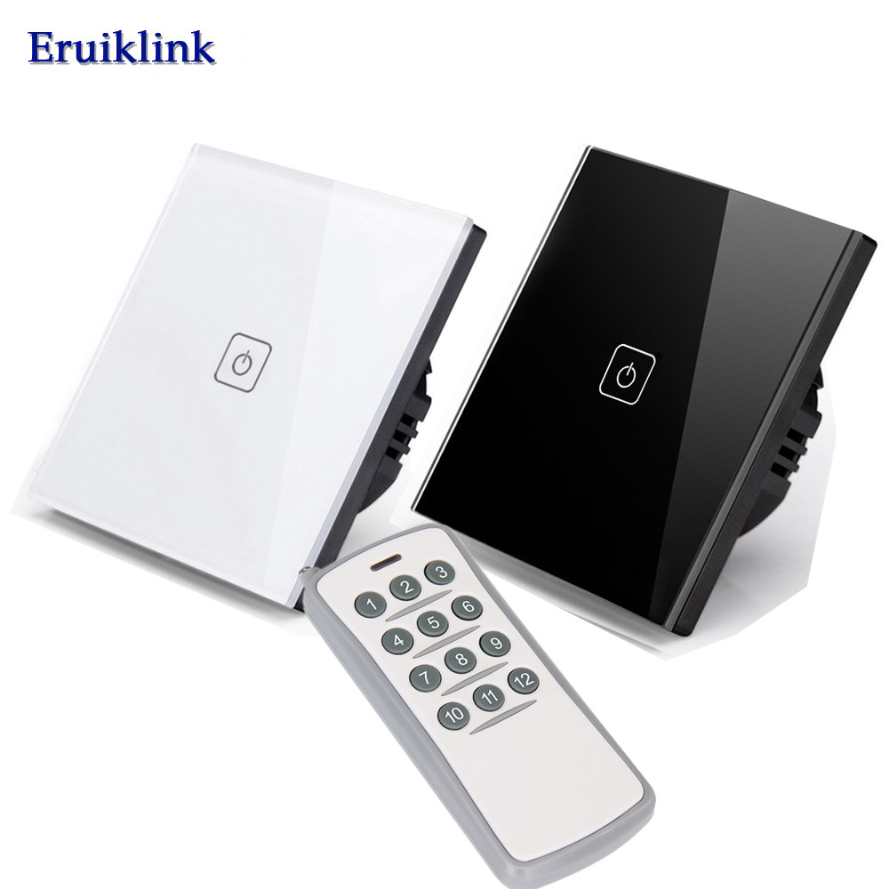 Eruiklink EU/UK Standard 1 Gang 1 Way Remote Control Touch Switch,LED Indicator For RF433 Smart Home Wall Light Switch smart home luxury crystal glass 2 gang 1 way remote control wall light touch switch uk standard with remote controller