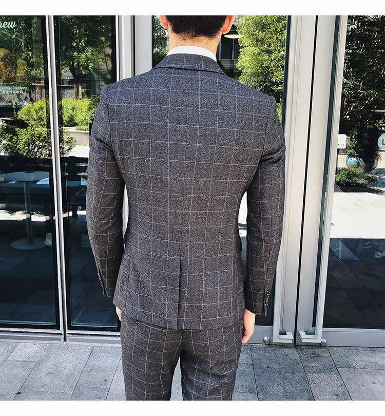 De Bleu Trois Plaid Nouveaux Hommes veste Mâle Décontractés gris Formelle D'affaires Mode Gilet Costume Boutique Robe Mariage Pantalon2019 pièce Costumes htQsrd