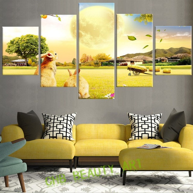 5 Piece Modern Canvas Wall Art Prints Painting Harvest Farm Sunset ...