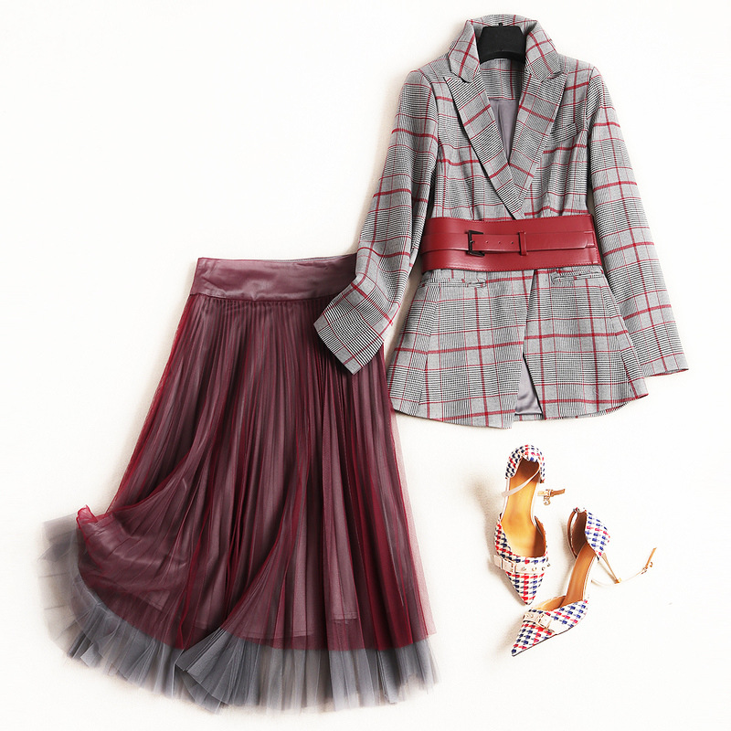 2019 Spring New Fashion 2Piece Skirt Set Women Designers Office Lady Plaid Belted Notched Blazer Midi
