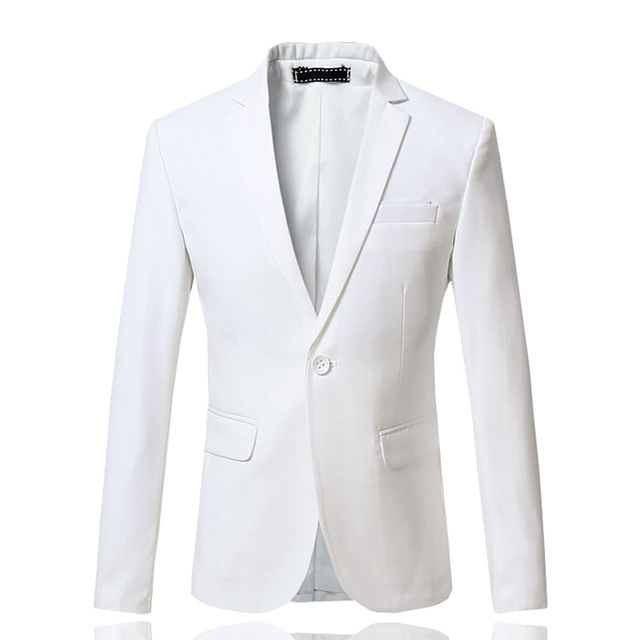 New Arrival Spring White Formal Dress Blazers Men Solid Slim Fit V-neck Mens Blazer Jacket Casual Social Business Suit Jacket